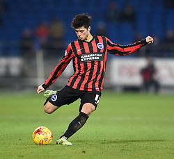 Brighton and Hove Albion's Joao Teixeira takes a free kick - Photo mandatory by-line: Paul Knight/JMP - Mobile: 07966 386802 - 10/02/2015 - SPORT - Football - Cardiff - Cardiff City Stadium - Cardiff City v Brighton & Hove Albion - Sky Bet Championship