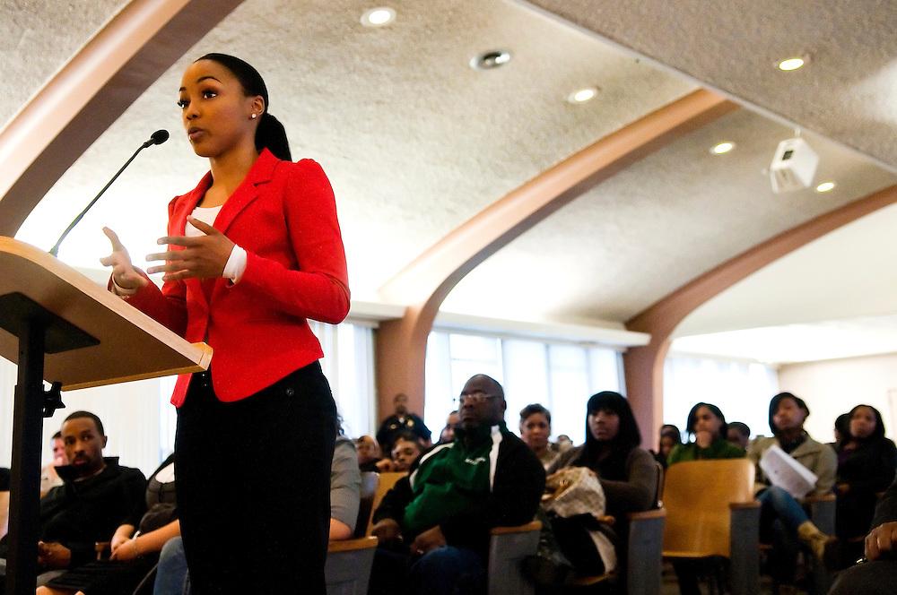 Matt Dixon   The Flint Journal..Flint native Kyona Cook, 24, speaks about the violence in Flint at Monday's city council meeting.