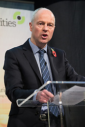 © Licensed to London News Pictures . 06/11/2014 . Leeds , UK . DAVE NEWTON Transport for Greater Manchester 's Transport Strategy Director , addresses the Northern Futures Summit in Leeds .  Photo credit : Joel Goodman/LNP