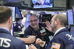February. 6, 2018 - New York, New York, U.S. - Traders work at the New York Stock Exchange in New York, the United States, Feb. 6, 2018. U.S. stocks closed higher after a volatile trading session on Tuesday. The Dow Jones Industrial Average added 567.02 points, or 2.33 percent, to 24,912.77. The S&P 500 increased 46.20 points, or 1.74 percent, to 2,695.14. The Nasdaq Composite Index was up 148.36 points, or 2.13 percent, to 7,115.88. (Credit Image: © Wang Ying/Xinhua via ZUMA Wire)