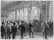 Wilhelm I (1797-1888) King of Prussia from 1861 being proclaimed Emperor of Germany, 1871. After the defeat of France in the Franco-Prussian War of 1870-1871, as a gesture of further humiliation of the French, on 18 January 1871 Wilhlem I was crowned as the first Emperor of Germany in the Hall of Mirrors, Versailles, the palace built by Louis XIV of France.  Wood engraving.