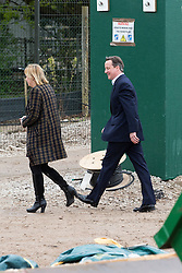 © Licensed to London News Pictures . 06/05/2015 . Chester , UK . The Conservative Party Leader DAVID CAMERON (r) visits a building site for an extension at Chester Zoo on the final day of the election campaign . Photo credit : Joel Goodman/LNP