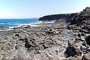 Atlantic coast in south west corner,  Los Charcones, Caleta Negra bay, near Playa Blanca, Lanzarote, Canary islands, Spain