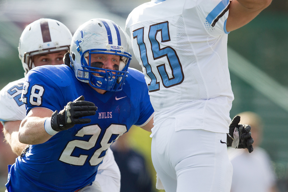 Harry Nicholas, of Colby College, during a NCAA Division III football game on November 2, 2013 in Waterville, ME. (Dustin Satloff/Colby College Athletics)