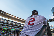 Brian Dozier #2 of the Minnesota Twins looks on during a game against the Kansas City Royals on June 27, 2013 at Target Field in Minneapolis, Minnesota.  The Twins defeated the Royals 3 to 1.  Photo by Ben Krause