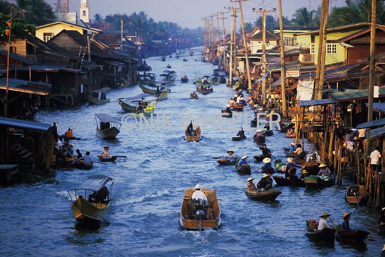 Floating Market scene near Bangkok Thailand Asia