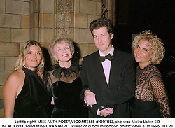 Left to right, MISS FAITH POZZY, VICOMTESSE d'ORTHEZ, she was Moira Lister, SIR TIM ACKROYD and MISS CHANTAL d'ORTHEZ at a ball in London on October 31st 1996. LTF 21