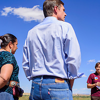 Environmental specialist Joni Nofchissey, right, explains the uranium mill history to Sen. Martin Heinrich and council delegate Amber Crotty during a tour of the mill site in Shiprock Friday.