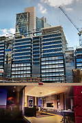 Huge Shoreditch development by Curtain Street in London, United Kingdom. This is site of The Curtain theatre which started in 1577 and where the first performance of Romeo and Juliet was given.