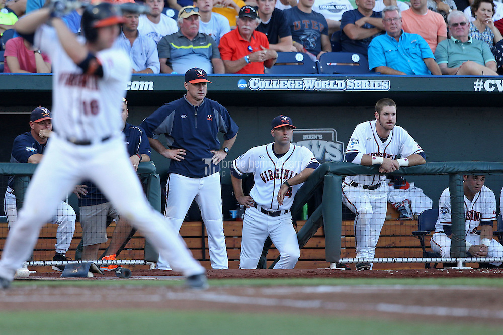 Head coach Brian O'Connor #26 of the Virginia Cavaliers looks on during Game 4 of the 2014 Men's College World Series between the Virginia Cavaliers and Ole Miss Rebels at TD Ameritrade Park on June 15, 2014 in Omaha, Nebraska. (Brace Hemmelgarn)