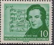 DDR [Deutsche Demokratische Republik (German Democratic Republic), official name of the former East Germany] Robert Schumann 10pf Green 1956