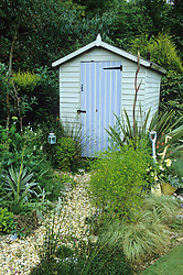 Gravel path leading to painted shed in seaside themed garden. Yuccas and phormium. Decorative use of painted spades.