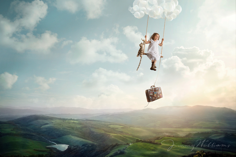 A little girl flying away on an adventure with her suitcase and stuffed animal.