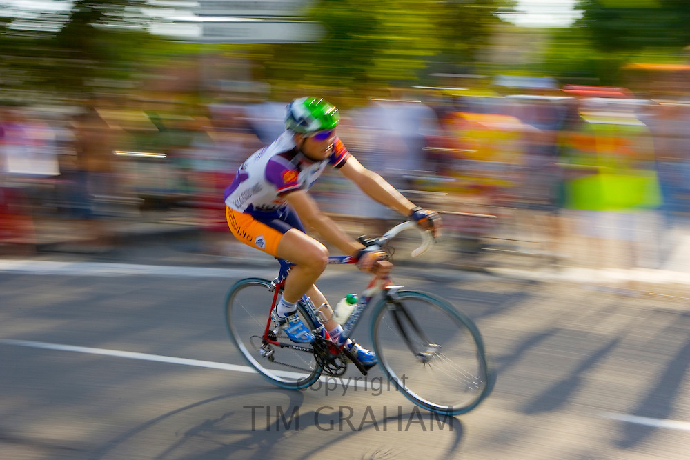 Cyclist takes part in Le Prix De La Ville De Lucmau in France