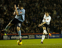 Fotball<br /> England 2004/2005<br /> Foto: SBI/Digitalsport<br /> NORWAY ONLY<br /> <br /> Derby County v Leeds United<br /> Coca Cola Championship. 26/01/2005<br /> <br /> Derby's Adam Bolder (R) scores his side's second goal.