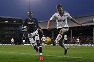 Tomas Kalas of Fulham (R) clears under pressure from Tom Elliott of Millwall (L). EFL Skybet football league championship match, Fulham v Millwall at Craven Cottage in London on Saturday 25th November 2017.<br /> pic by Steffan Bowen, Andrew Orchard sports photography.