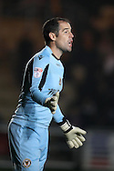 James Bittner, the Newport county goalkeeper looks on.EFL Skybet football league two match, Newport county v Barnet at Rodney Parade in Newport, South Wales on Tuesday 25th October 2016.<br /> pic by Andrew Orchard, Andrew Orchard sports photography.