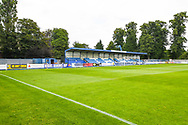 A general view of the stand behind the goal before the Pre-Season Friendly match between Tadcaster Albion and Leeds United at i2i Stadium, Tadcaster, United Kingdom on 17 July 2019.