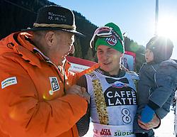 18.12.2016, Grand Risa, La Villa, ITA, FIS Ski Weltcup, Alta Badia, Riesenslalom, Herren, Siegerpräsentation, im Bild Altlandeshauptmann Luis Durnwalder mit Florian Eisath (ITA, 3. Platz) mit Sohn Felix // f.l. Luis Durnwalder, third placed Florian Eisath of Italy and his son Felix during the winner presentation for the men's Giant Slalom of FIS ski alpine world cup at the Grand Risa race Course in La Villa, Italy on 2016/12/18. EXPA Pictures © 2016, PhotoCredit: EXPA/ Johann Groder