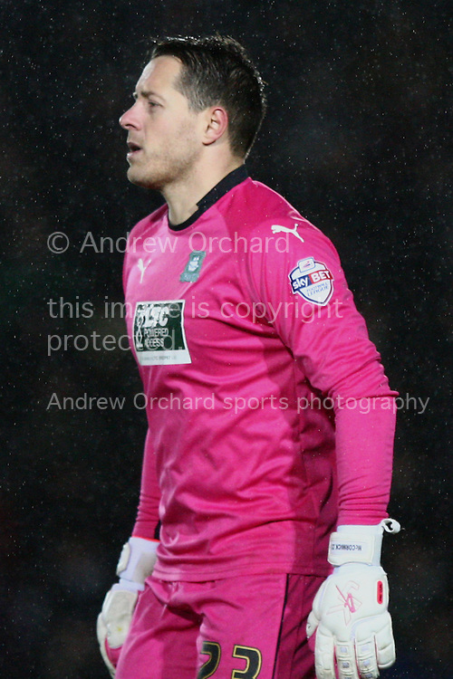Plymouth goalkeeper Luke McCormick looks on. Skybet football league two match, Newport County v Plymouth Argyle at Rodney Parade in Newport, South Wales on Boxing Day, Friday 26th December 2014<br /> pic by Mark Hawkins, Andrew Orchard sports photography.