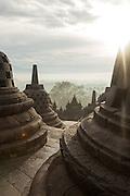 Stupas, Borobudur, Kedu Valley, South Central Java, Java, Indonesia, Southeast Asia