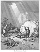 Conversion of Saul From the book 'Bible Gallery' Illustrated by Gustave Dore with Memoir of Dore and Descriptive Letter-press by Talbot W. Chambers D.D. Published by Cassell & Company Limited in London and simultaneously by Mame in Tours, France in 1866