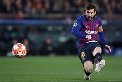 Barcelona's Lionel Messi scores his side's first goal of the game from a penalty
