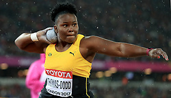 Jamaica's Danniel Thomas-Dodd in action in the Women's Shot Put during day six of the 2017 IAAF World Championships at the London Stadium. PRESS ASSOCIATION Photo. Picture date: Wednesday August 9, 2017. See PA story ATHLETICS World. Photo credit should read: Adam Davy/PA Wire. RESTRICTIONS: Editorial use only. No transmission of sound or moving images and no video simulation