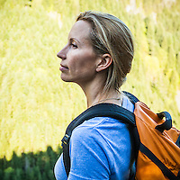 A portrait made as part of a personal project series on how people connect with nature. This is Sonya Elliot and she makes her nature connection by hiking in the mountains.