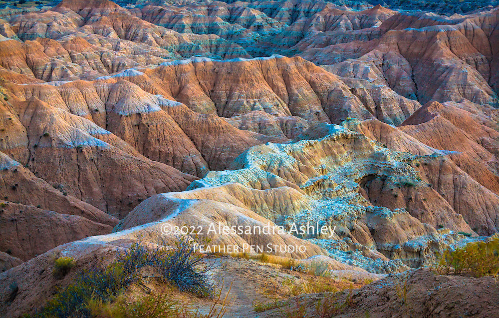 Land formations of the Badlands in cool late evening light. Image placed as semifinalist in North American Nature Photography Association (NANPA) 2016 Showcase competition and in Audubon Society of Greater Denver 2015 Share the View international nature photography competition. Also Top 10 finalist in the Defenders of Wildlife 7th annual photo competition.