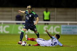 BANGOR, WALES - Saturday, November 12, 2016: Wales' Aaron Lewis in action against England during the UEFA European Under-19 Championship Qualifying Round Group 6 match at the Nantporth Stadium. (Pic by Gavin Trafford/Propaganda)