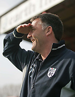 Photo. Andrew Unwin<br /> Doncaster Rovers v York, Nationwide League Division Three, Earth Stadium, Belle Vue, Doncaster 24/04/2004.<br /> Doncaster's manager, Dave Penney, looks forward to his team's future in Division Two.