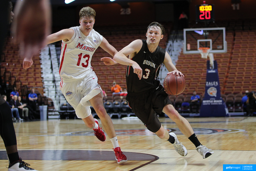 Steven Spieth, (right), Brown, drives past Kristinn Palsson, Marist, during the Marist vs Brown Men's College Basketball game in the Hall of Fame Shootout Tournament at Mohegan Sun Arena, Uncasville, Connecticut, USA. 22nd December 2015. Photo Tim Clayton