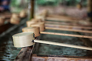 Bamboo water scoops are often found at Shinto shrines. Upon entering a shrine, one is required to ritually rinse their mouth and hands with the water scoop.