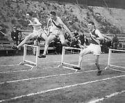 """hurdle races"" (center figure has Washington letter on shirt)"