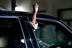 A fist is up in the as Bill Cosby departs after the first day of jury deliberations on day 13 of the actor and comedian's sexual assault trial at the Montgomery County Court House, in Norristown, PA, on April 25, 2018.