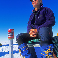 Rick Ridgeway relaxes at the end of a climbing expedition to Queen Maud Land, Antarctica.