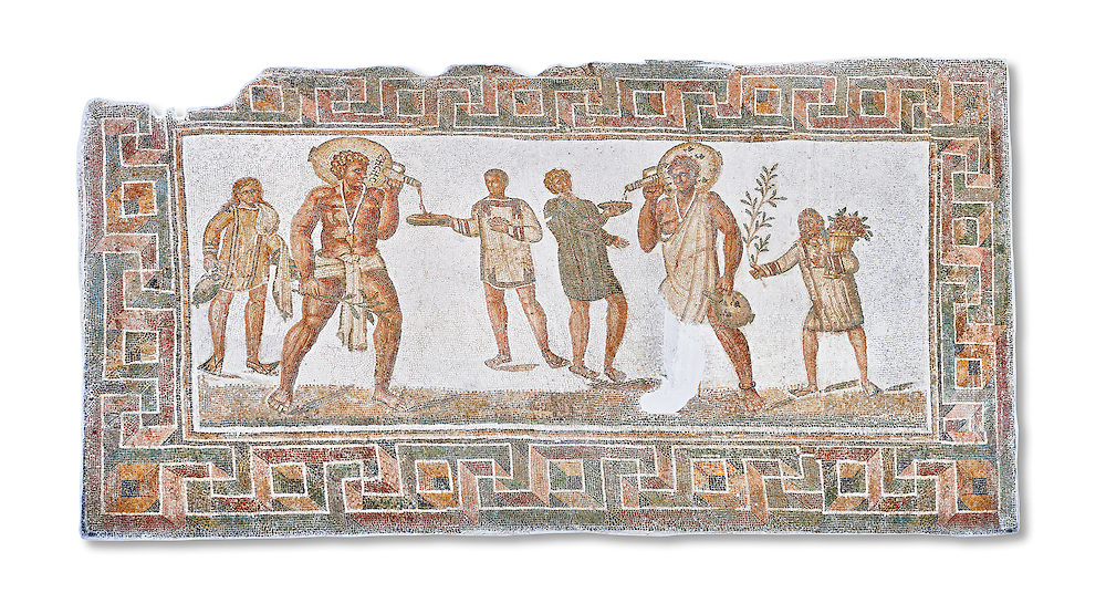 3rd century AD Roman mosaic panel of a drinking scene from Dougga, Tunisia.  The Bardo Museum, Tunis, Tunisia. White background .<br /> <br /> If you prefer to buy from our ALAMY PHOTO LIBRARY  Collection visit : https://www.alamy.com/portfolio/paul-williams-funkystock/roman-mosaic.html - Type -   Bardo    - into the LOWER SEARCH WITHIN GALLERY box. Refine search by adding background colour, place, museum etc<br /> <br /> Visit our ROMAN MOSAIC PHOTO COLLECTIONS for more photos to download  as wall art prints https://funkystock.photoshelter.com/gallery-collection/Roman-Mosaics-Art-Pictures-Images/C0000LcfNel7FpLI