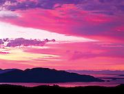 sunset over Cypress Island in the San Juan Islands