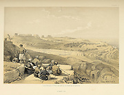 Askelon. A conference of smoking men in the foreground  The Holy Land : Syria, Idumea, Arabia, Egypt & Nubia by Roberts, David, (1796-1864) Engraved by Louis Haghe. Volume 2. Book Published in 1855 by D. Appleton & Co., 346 & 348 Broadway in New York.