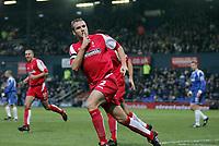Photo: Paul Thomas.<br /> Oldham Athletic v Swindon Town. Coca Cola League 1.<br /> 10/12/2005.<br /> <br /> Sean O'Hanlon celebrates his goal for Swindon.