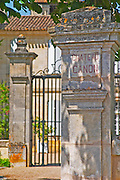 A stone pillar and gate inscribed with Chateau Canon  Saint Emilion  Bordeaux Gironde Aquitaine France