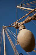 """16th February 2010. Muscat. Oman..Pictures of the clay water pot and mug tied to the rigging of """"The Jewel of Muscat""""  shown here leaving her home port of Muscat as they sail and recreate the origanol historic journey to Singapore."""