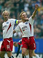 Fotball<br /> Bundesliga 2003/04<br /> Hamburger SV v FC Köln<br /> 24. april 2004<br /> Foto: Digitalsport<br /> NORWAY ONLY<br /> <br /> Sergej Barbarez, Christian Rahn HSV