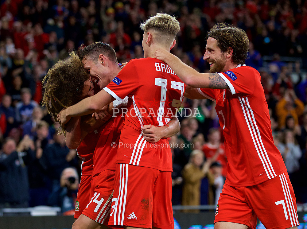 CARDIFF, WALES - Thursday, September 6, 2018: Wales' Connor Roberts celebrates scoring the fourth goal with team-mates during the UEFA Nations League Group Stage League B Group 4 match between Wales and Republic of Ireland at the Cardiff City Stadium. (Pic by Paul Greenwood/Propaganda)