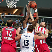 Fenerbahce Ulker's James Gist (C) during their Euroleague Basketball Game 7 match Fenerbahce Ulker between Olympiacos at Sinan Erdem Arena in Istanbul, Turkey, Thursday, December 01, 2011. Photo by TURKPIX
