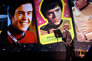 Walter Koenig looks up at familiar faces of Ensign Pavel Chekhov, the character he played on Star Trek, during a re-dedication of the Noyce Science Center.