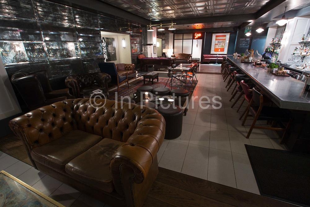 Interior of Marks Bar at Hix Restaurant on 4th November 2015 in London, United Kingdom. Celebraty chef, Mark Hix, late night cocktail and wine bar in Soho
