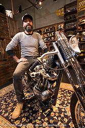Custom builder Andrea Radaelli of Radikal Choppers with the custom Ironhead he built for 70's Helmets at Motor Bike Expo. Verona, Italy. Thursday January 18, 2018. Photography ©2018 Michael Lichter.