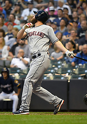 May 8, 2018 - Milwaukee, WI, U.S. - MILWAUKEE, WI - MAY 08: Cleveland Indians Starting pitcher Corey Kluber (28) fouls one off during a MLB game between the Milwaukee Brewers and Cleveland Indians on May 8, 2018 at Miller Park in Milwaukee, WI. The Brewers defeated the Indians 3-2.(Photo by Nick Wosika/Icon Sportswire) (Credit Image: © Nick Wosika/Icon SMI via ZUMA Press)